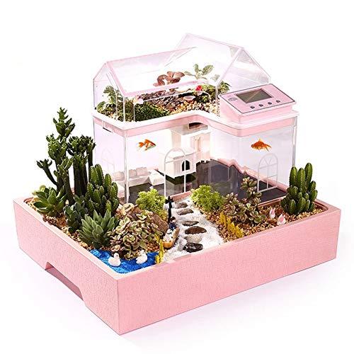 Acryl Mini Micro Landschaft Aquarium Schreibtisch Kleine Persönliche Ökologie Multifunktionale Wohnzimmer Creative Aquarium USB Powered LED Aquarium Lichter,Pink -