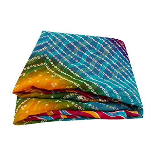 Indianer-muster-krawatte (Frauen Bandhani Saree Traditioneller Designer Indischer Bollywood Mode Sari)
