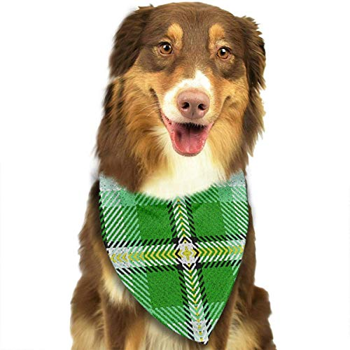 Wfispiy Green Yellow Black Buffalo Plaid Fashion Pet Bandanas Dog Car Neck Scarf for Unisex Pet Boy Girls (Patriot Boy Kostüm)