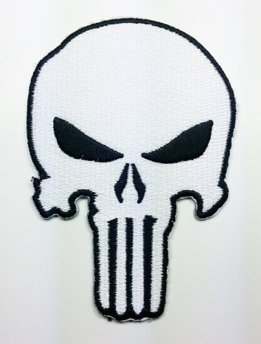 White the Punisher Movie GOD Will Patch Embroidered Iron on Hat Jacket Hoodie Backpack Ideal for Gift/6.8cm(w) X 9.5cm(h) by Think Patch skull