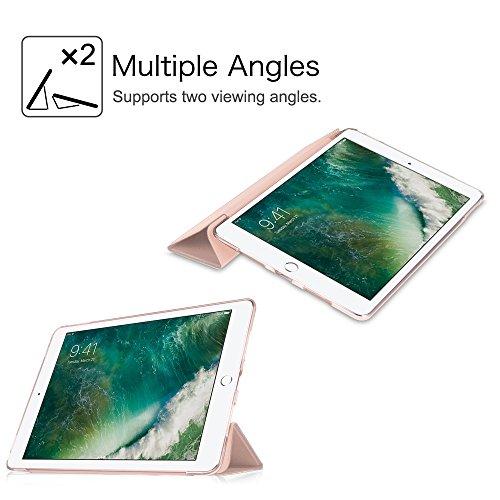 Fintie iPad 9.7 Zoll 2017 Hülle – Ultra Slim Superleicht Schutzhülle mit transparenter Rückseite Abdeckung Smart Case mit Auto Schlaf / Wach Funktion für Apple iPad 2017 Neue Modell, Roségold - 6