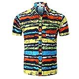 QUINTRA Persönlichkeit Männer Casual Schlank Kurzarm Printed Shirt Top Bluse (Mehrfarbig, XL)