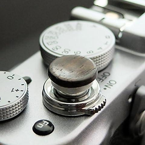 Soft Déclencheur en aluminium/ bois- Ébène (concave, 11mm) pour Leica M-Serie, Fuji X100, X100S, X100T, X10, X20, X30, X-Pro1, X-Pro2, X-E1, X-E2, X-E2S et tous les appareils photos avec la bouche filetage conique