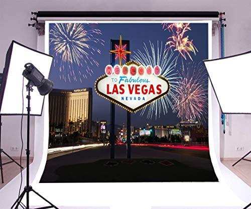 EdCott 6x6ft Hintergrund Fotografie Willkommen bei Fabulous Las Vegas Nevada Feuerwerk Leuchtschild Stadt Nachtansicht Landschaft Reise Hochzeit Urlaub Party Dekorationen Hintergrund