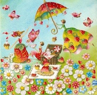 modern-times-carte-postale-14-x-14-cm-chen-nina-de-pique-nique-avec-vernis