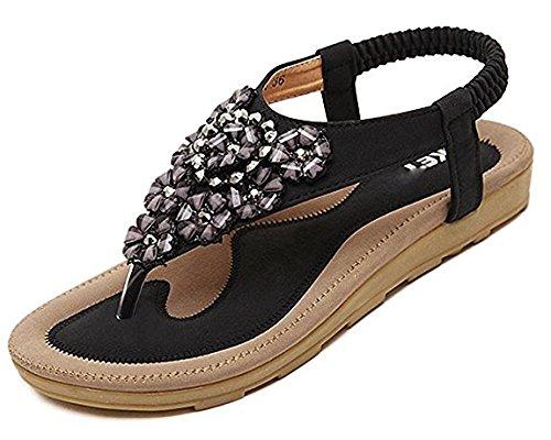 Minetom Damen Sommer Böhmische Stil Flache Schuhe Süße Blumen Strass T-Strap Sandalen Flats Thong Strand Hausschuhe (EU 40, Schwarz) (Perlen-sandalen Butterfly)