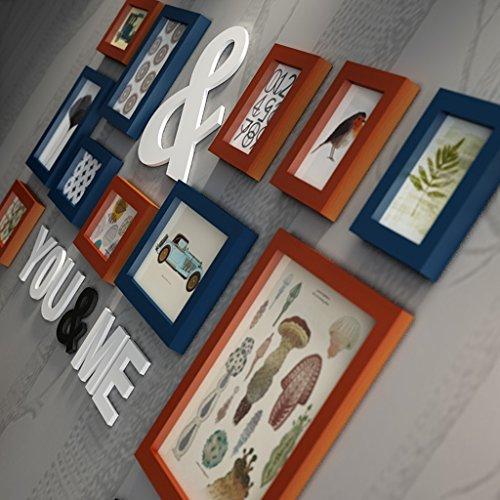 Cadres photo en bois de pin, cadres photo Combinaison mur de fond mur photo pour salon / avec des images, ensemble de 11 cadres @The harvest season ( Couleur : B )