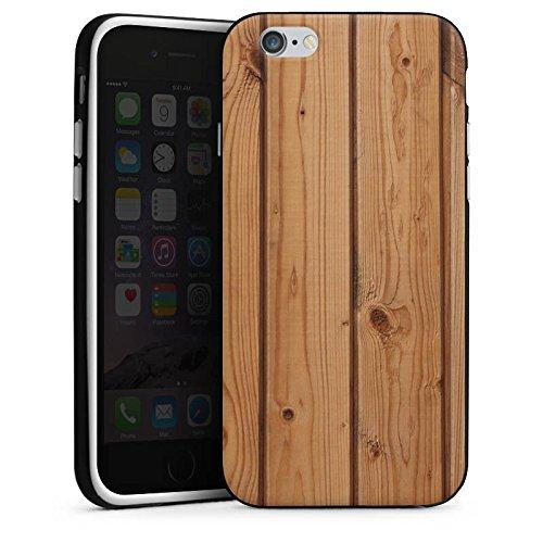 Apple iPhone 5s Housse Étui Protection Coque Look bois Planches Sol en bois Housse en silicone noir / blanc