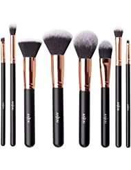 Anjou Pinceaux Maquillages Professionnel Kit de 8pcs, Poils Synthétiques 100% sans Cruauté&Végan Soyeux et Denses, Pochette Waterproof Incluse, Makeup Brushe Pinceaux Maquillages Teint - Or Rose