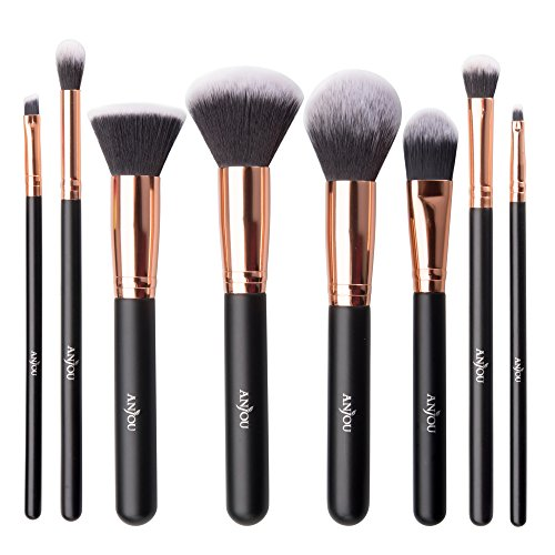 Make Up Pinsel, Anjou 8-teiliges Professionelles Schminkpinsel Kosmetikpinsel Set, helles Rosegold x Mattschwarz, wasserdichtem Beutel inklusive