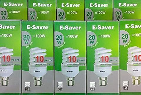 Pack de 10, 20 W = 100 W Blanc froid 4200 K E-Saver, à spirale, Compact, lampe Fluorescent (CFL)-Culot à baïonnette (BC, B22) 1150 Lumen %-85, T2, 80% à économie d'énergie Lumière non vacillante lors, 10 000 heures de durée de vie