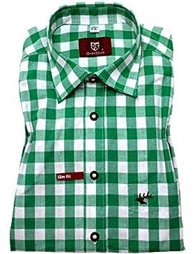 Orbis 0122 Slim Fit Trachtenhemd trachtengrün weiß kariert S bis XXL