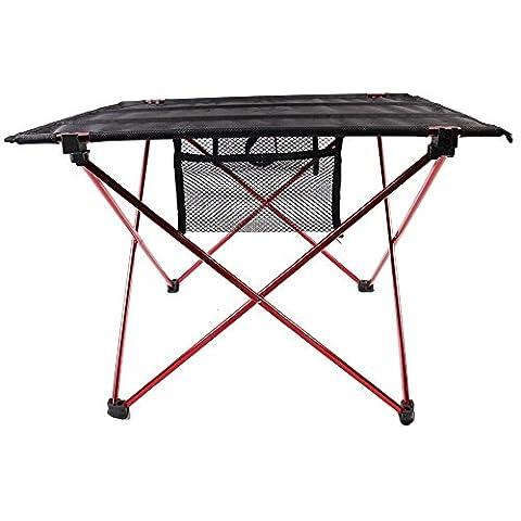 candora ™ Trèfle Camping Table pliante en aluminium, pliable, portable, supports pour intérieur ou extérieur Tissu Oxford Table à manger Parti de pique-nique Camping Red