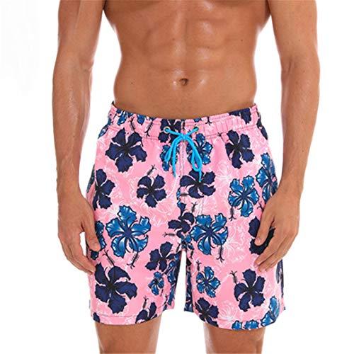 D&CiCiRi Schnell trocknende Sommershorts Herren Print Beach Board Shorts Surf Siwmwear Bermudas Swim Flower pink L -