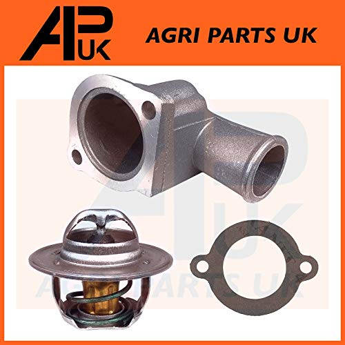 APUK 88 C Thermostat + Housing & Gasket compatible with Ford New Holland  5900 6600 6610 6700 Tractor