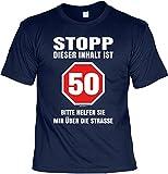 Geburtstag T-Shirt - Stopp! Dieser Inhalt ist 50! Bitte Helfen Sie Mir über die Straße - Zum Wiegenfest