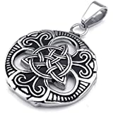 Konov Jewellery Mens Womens Celtic Knot Stainless Steel Pendant Necklace, Colour Black Silver, 18-26 inch Chain (with Gift Bag)