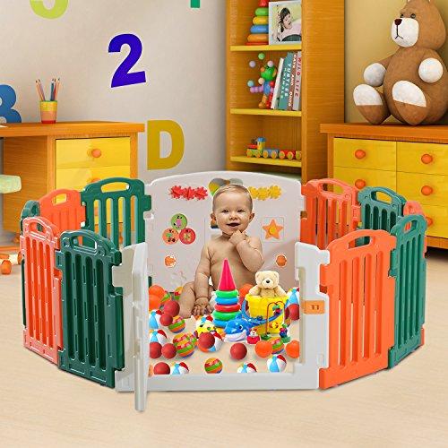 Homcom - Recinto Modulare 12 Pezzi con Cancelletto per il Gioco in Sicurezza dei Bambini con Certificato EN71, Arancio e Verde