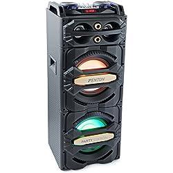 Fenton LIVE2101 Enceinte 800 Watts Bluetooth - SD et USB , Ecran de lecture LCD , 2 entrées micro (jack 6,35) + 1 entrée ligne stéréo (RCA) , Égaliseurs graves/aigus stéréo 5 bandes