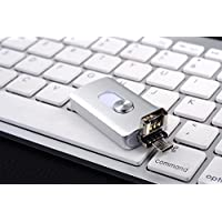 USB flash drive, 3 in 1 spring drive, external memory expansion for iPhone, iPad, iOS, Android and PC silver 128 GB