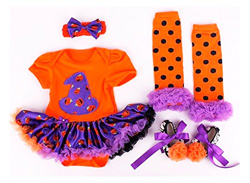 Baby Girl Halloween Witch Tutu Romper Fancy Dress Costume Set (6-12 Months)
