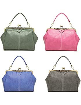La Viano® Damen Handtasche Umhängetasche Henkeltasche Abendtasche Ausgehtasche Stylisch Vintage Retro grün blau...