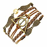 El Regalo Harry Potter Deathly Hallows Fashion Leather Bracelet For Girls & Boys - Brown