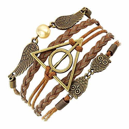 El Regalo Harry Potter Deathly Hallows Fashion Leather Bracelet For Girls &...