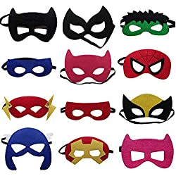12 Piezas Máscaras de Superhéroe Suministros de Fiesta de Superhéroes Máscaras de Cosplay de Superhéroe Máscaras de Media Fiesta para Niños o Niños Mayores de 3 Años