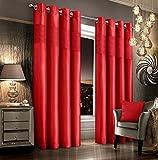Intimates Vorhänge aus Kunstseide, mit Ösen, Thermosamt, 2 Stück, rot, 167,6 x 228,6 cm