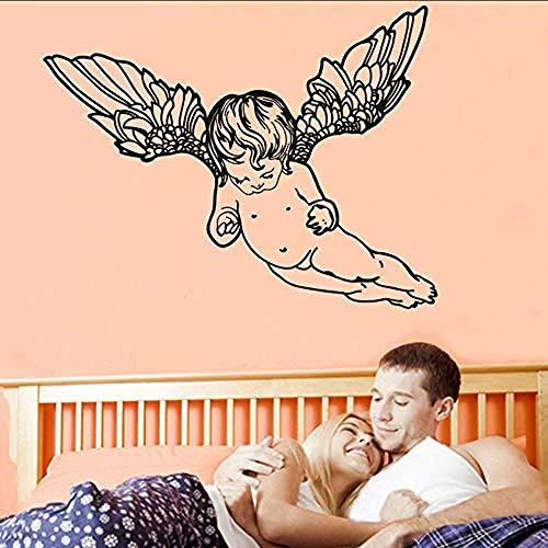 XYVXJKunst Dekor Baby s Zimmer Nette Nackte Fliegende Cherub Wandaufkleber Schlafzimmer Kopfteil Dekorative Vinyl Engel Wandtattoo 58X75 Cm -