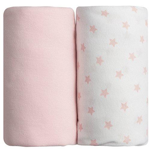 Babycalin Set 2Spannbettlaken rosa 60x 120cm