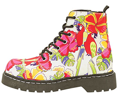 T.U.K. Shoes Women's Anarchic By T.U.K. 7 Eye Boot Parrot Tropical Print White & Multi Colour