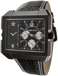 Boudier & Cie Herren Leon Kingsize Collection Quarz Armbanduhr mit zwei Zeitzonen - Analoge Anzeige - Lederarmband Gehäuse aus Edelstahl Größe XL - OZG1105-BC