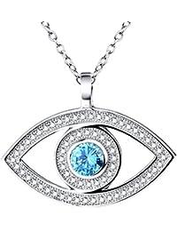Collier en rhodium plaqué argent sterling - Pendentif du mauvais œil Hamsa  - Bleu et blanc 71aeb770e86a