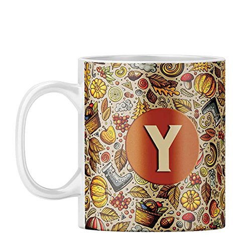 YuBingo Designer Printed Coffee Mug | Letter Y (Foodie Delight) | Gift Mugs | Ceramic | Colourful | Stylish | Premium | Customised | Personalised | Photo | Initial | Name | For Him | For Her