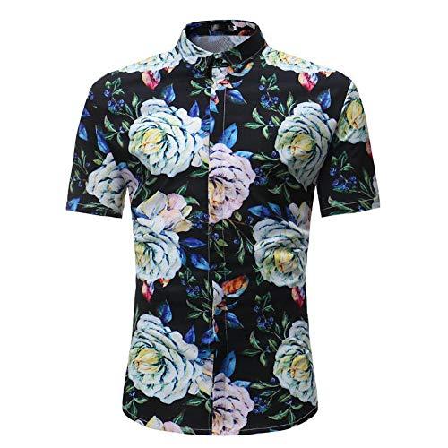 YAYLMKNA Shirt Männer Shirt Sommer Stil Palm Tree Print Strand Shirt Männer Casual Kurzarm-Shirt, L - Tree Print Shirt