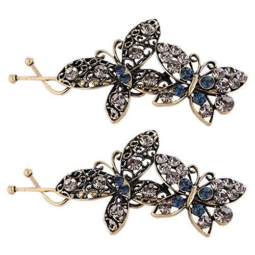 Ensemble de 3 épingles à chignons / élégant coiffure clips, cristal(bleu&noir)
