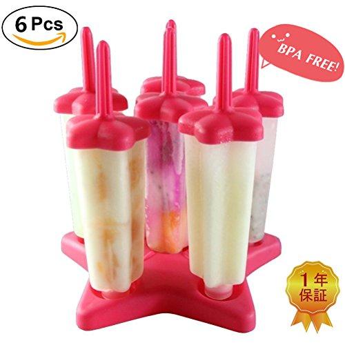 Eisformen Silikon BPA Frei 6 Stück Eis am Stiel für Kinder und Erwachsene Eislutscher Ice Pop Maker Stieleisformen DIY Selbstgemachtes Eis(Rot)