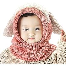 Ensemble Bonnet-Echarpe Bébé Tricoté Crochet Thermique Calotte Hiver  Automne Chaud Earflap Motif Cartoon Chien 302bc95cf57