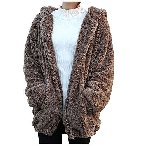 Etopfashion Women Cute Cartoon Bear Ear Hoodie Baggy Outerwear Jacket Coat