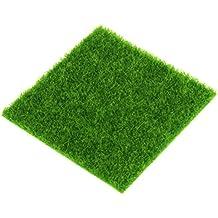 1 Pieza Césped Artificial Verde Cuadrada Alfombra De Espuma Para Decoración De Paisaje En Miniatura Para Acuario Revestimiento De Suelo Terraza O Balcón