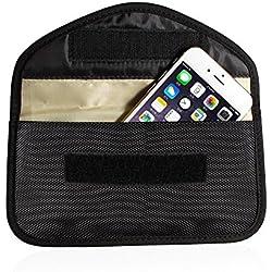 Toile de Protection Anti-radiations Anti-Tracking Anti-Espion Signal Blocage Case Sac combiné Fonction Sac pour téléphone Portable(Noir)