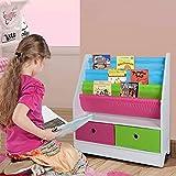 TOP-MAX Kinderregale Bücherregal Kinder Bücherschrank Stoff Buchen Aufbewahrung Regale Ständer mit 2 Spielzeug Aufbewahrungsbox für Kinderzimmer - 2