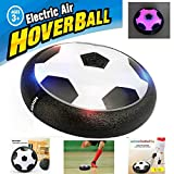 FJBMW Kids Air Power Soccer Football Size Boys Girls Sport Children Toys Training Football Indoor Outdoor Disk Hover Ball Game with Foam Bumpers and Light Up LED Lights(Black)