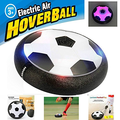 Product Image of Kids Air Power Soccer Football Size Boys Girls Sport Children Toys Training Football Indoor Outdoor Disk Hover Ball Game with Foam Bumpers and Light Up LED Lights(Black)