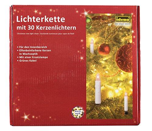 Idena 8582169 - Kerzenlichterkette, 30er warm weiß, für (Weihnachtsbaum Passen)