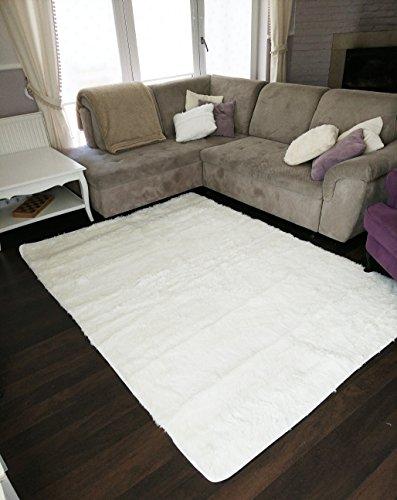 Amazinggirl WohnzimmerteppichHochflor Teppich Shaggy für Wohnzimmer Schlafzimmer Langflor Hochflorteppich Läufer flauschig waschbareinfarbig (weiß 160 x 230 cm)