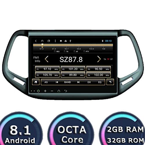 Indash Android 8.1 Auto Stereo for Jeep Kompass 2016 2017 2018 Autoradio GPS-Player 32 GB R0M 2 GB RAM Octa Core WiFi 3G RDS Spiegel Link FM AM BT Audio Video