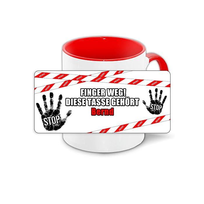 Büro-Tasse mit Namen Bernd und schönem Motiv - Nr. 2 - Finger weg, diese Tasse gehört, Farbe: rot